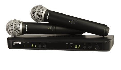 Shure BLX288/PG58-J10 Dual Wireless Microphone System with 2x PG58 Handheld Transmitters, 584-608 MHz BLX288/PG58-J10