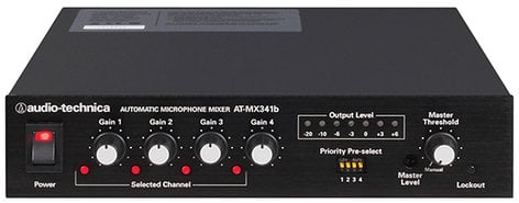 Audio-Technica AT-MX341b 4 Channel Automatic Mixer with Rack Ears ATMX341B