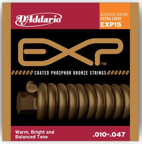 D`Addario EXP15 Extra Light Coated Phosphor Bronze Acoustic Guitar Strings EXP15