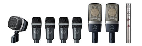 AKG DRUM SET PREMIUM Drumset Microphone Package for Touring, Live and Studio DRUMSET-PREMIUM
