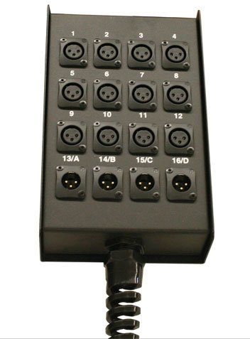RapcoHorizon Music S16BFLR 12x4 Loaded Stage Box with XLR Outs & Strain Relief S16BFLR