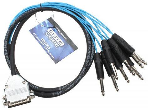 Elite Core Audio DB25Q5  5 ft. DB25 to 8x TRS Males Breakout Snake DB25Q5