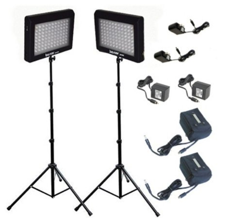Bescor LED-95DK2B LED Studio Lighting and Battery Kits with 2 Lights/Stands LED95DK2B