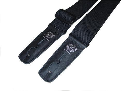 "Lock It Straps LIS-013-C2-BLK 2"" Black Cotton Guitar Strap with Black Locking Ends LIS-013-C2-BLK"