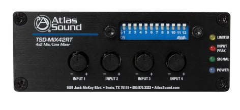 Atlas Sound TSD-MIX42RT  4x2 Mic/Line Mixer with Priority Sense and Remote Control , NO POWER SUPPLY TSD-MIX42RT