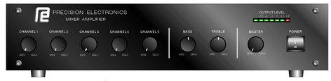Grommes-Precision GT250C 250-Watt 2 Rack Unit Mixer Amplifier GT250C