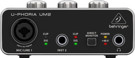 Behringer U-PHORIA UM2 Audiophile 2x2 USB Audio Interface with XENYX Mic Preamplifier UM2