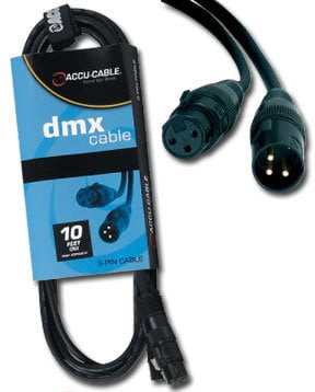 Accu-Cable AC3PDMX5 5 ft 3-Pin DMX Cable with XLR Connectors AC3PDMX5