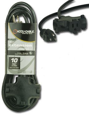 Accu-Cable EC-163-3FER-25 25' 16 AWG Power Extension Cable with 3 Outlets EC163-3FER-25