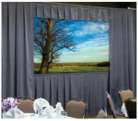 "Da-Lite 36520P  69"" x 120"" HDTV Ultra Velour Fast-Fold Deluxe® Drapery Presentation Kit with Pewter Gray Shown 36520P"