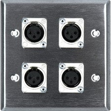 TecNec WPL2113  2-Gang Wall Plate with (4) 3-Pin XLRF Connectors WPL2113