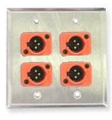 Whirlwind WP1B/2MNS  Single-gang Wall Plate with 2 Neutrik Screw Terminal XLRF Connectors WP1B/2MNS