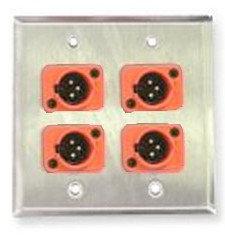 Whirlwind WP1B/2MNS  Single-gang Wall Plate with 2 Neutrik Screw Terminal XLRF Connectors WP1B/2MNS