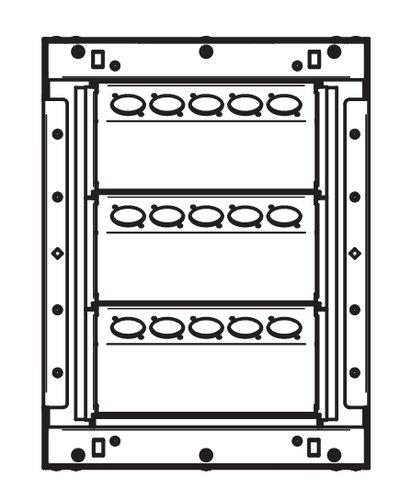 "FSR, Inc WB-X1-XLR 9.38"" x 12.38"" Back Boxes with 3 Rows of 5 XLR Holes in Black Shown WB-X1-XLR"