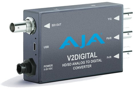AJA Video Systems Inc V2Digital Analog to SD/HD-SDI Mini Converter with Power Supply V2-DIGITAL