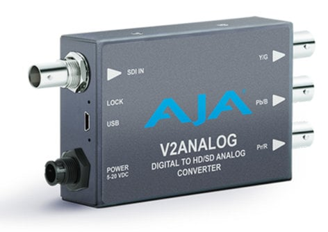 AJA Video Systems Inc V2Analog SDI Digital to HD/SD Component / Composite Analog Mini Converter with Power Supply V2-ANALOG