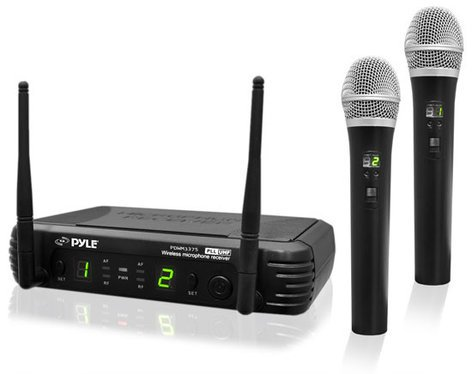 Pyle Pro PDWM3375 Premier Series 2-Channel UHF Wireless Handheld Microphone System PDWM3375