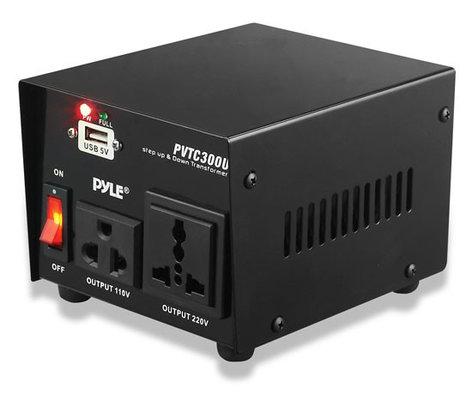 Pyle Pro PVTC300U 300W Step Up & Step Down Converter Transformer with USB Charging Port PVTC300U