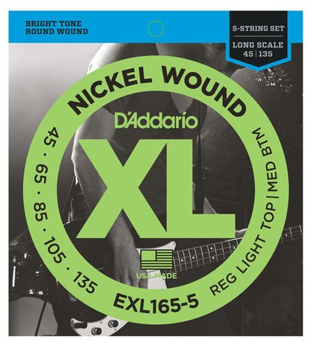 D`Addario EXL165-5 .045-.135 Hybrid Nickel 5-String Electric Bass Strings EXL165-5