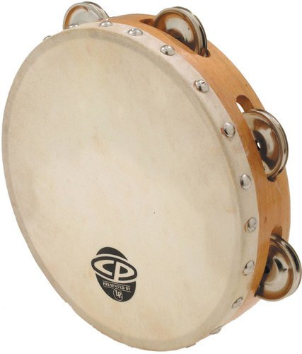 "Latin Percussion CP378 8"" CP Wood Tambourine with Single Row of Jingles and Calfskin Head CP378"