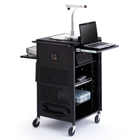 """Bretford Manufacturing TCP23FF-BK TCPUL23 Presenter's Assistant for Learning (PAL) Cart with 12-Outlet Electric Unit and 4"""" Rubber Casters TCP23FF-BK"""