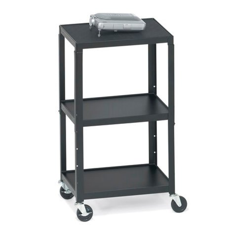 Bretford Manufacturing A2642E Height-Adjustable AV Cart with 6-Outlet Electrical Unit A2642E