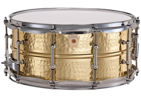 "Ludwig Drums LB422BKT  6.5x14"" Hammered Brass Snare Drum with Chrome Hardware LB422BKT"