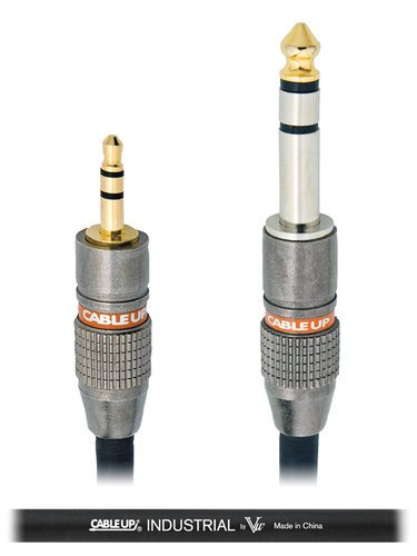 """Cable Up by Vu M3-P3-3-BLK 3 ft 1/8"""" TRS Male to 1/4"""" TRS Male Cable M3-P3-3-BLK"""