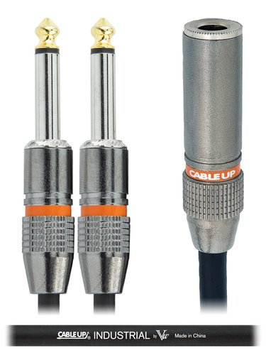 """Cable Up by Vu YP-PF2-PM2D-0.5-BLK 6"""" 1/4"""" TS Female to Dual 1/4"""" TS Male Parallel Y-Cable YP-PF2-PM2D-0.5-BLK"""