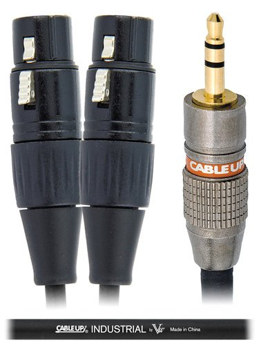 "Cable Up by Vu YS-M3-XF3D-10-BLK 10 ft 1/8"" TRS Male to Dual XLR Female Y-Cable with Black Jacket YS-M3-XF3D-10-BLK"
