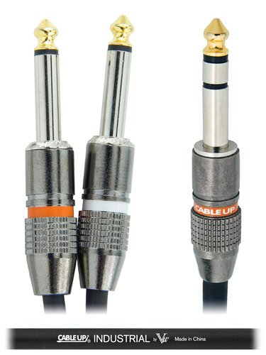 """Cable Up YS-PM3-PM2D-5-BLK 5 ft 1/4"""" TRS Male to Dual 1/4"""" TS Male Y-Cable with Black Jacket YS-PM3-PM2D-5-BLK"""