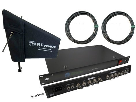 RF Venue DFINDISTRO4 Diversity Fin and 4-Channel RF + DC Antenna Distributor Bundle Pack DFINDISTRO4