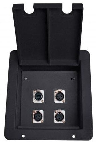 Elite Core Audio FB4-NE8FD  FB4 Recessed Floor Box with 3 XLRF+ EtherCon Pass-Thru Jacks FB4-NE8FD