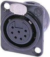 Neutrik NC7FDL-1-B 7-pin XLR Female Panel Connector, Black, Gold Contacts NC7FDL-B-1