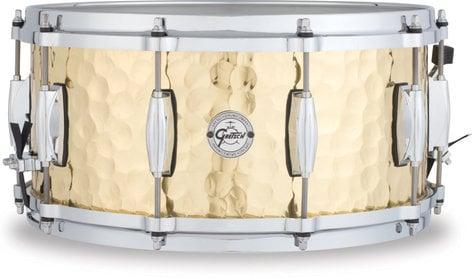 """Gretsch Drums S1-6514-BRH 6.5""""x14"""" 10 Lug Hammered Brass Snare Drum S1-6514-BRH"""