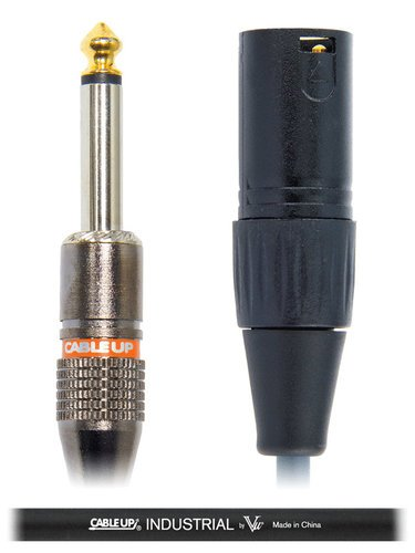 """Cable Up by Vu XM3-PM2-1-BLK 1 ft XLR Male to 1/4"""" TS Male Unbalanced Cable with Black Jacket XM3-PM2-1-BLK"""