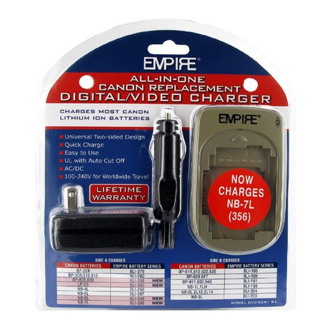 Empire Scientific DVU-CAN1 R1 AC/DC Universal Charger for Canon Batteries DVU-CAN1-R1