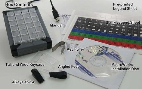 PI Engineering XK-24-USB-R X-Keys XK-24 24-Key Programmable USB Keypad XK-24-USB-R