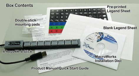 PI Engineering, Inc. X-Keys XK-8 Stick 8-Key Programmable USB Key Stick XKS-08-USB-R