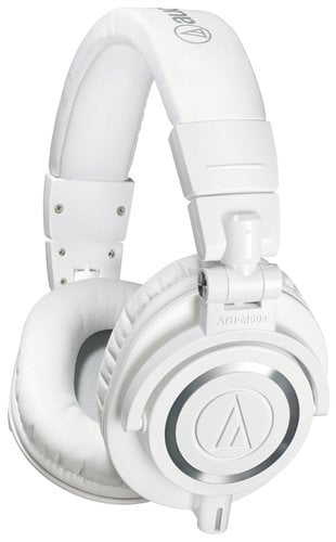 Audio-Technica ATH-M50XWH ATH-M50x M Series Professional Closed Back Headphones in White with Detachable Cables ATH-M50XWH
