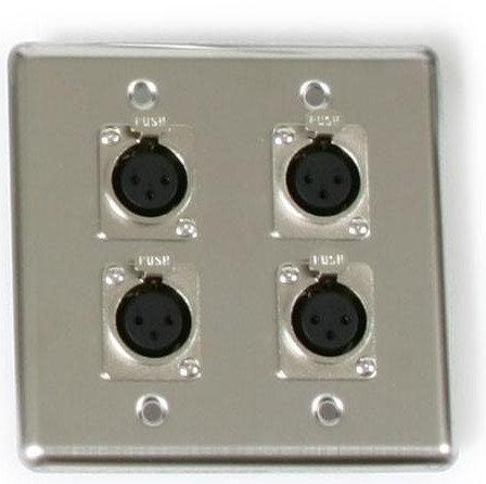 Elite Core Audio Q-4-XLR  OSP Dual Gang Wall Plate with 4 XLR-F Q-4-XLR