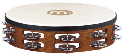 Meinl Percussion TAH2AB  Traditional Goat-Skin Wood Tambourine with 2 Rows of Steel Jingles TAH2AB
