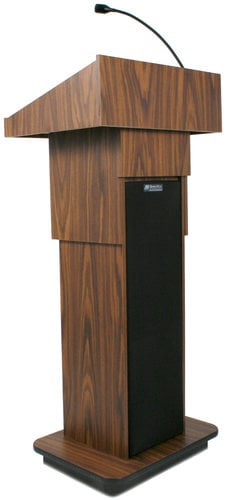 """AmpliVox SW505A-LAPEL 39"""" - 45"""" Executive Sound Column Lectern with Built-In Wireless Sound System and Wireless Lapel Microphone SW505A-LAPEL"""