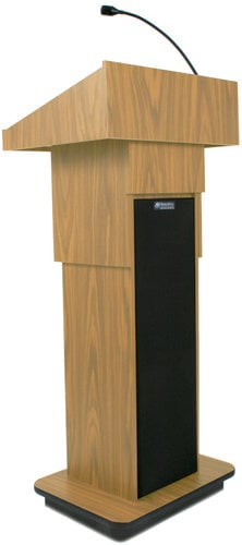 "AmpliVox SW505A 39"" - 45"" Executive Sound Column Lectern with Built-In Wireless Sound System and Wireless Lapel Microphone SW505A-LAPEL"