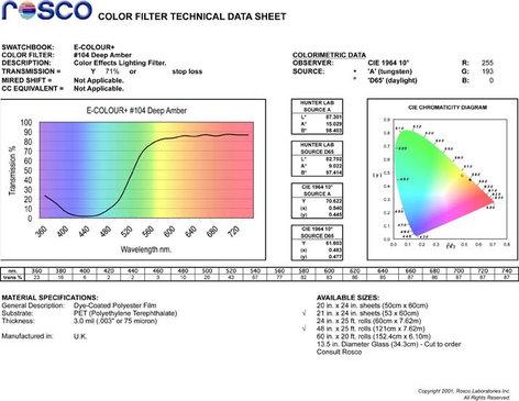 "Rosco Laboratories E-Colour 104 21"" x 24"" Sheet of Deep Amber Filter E-COLOUR-104-SHEET"
