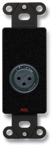 RDL DB-XLR3F  3 Pin Solder Type Female XLR Jack on Black Decora Wall Plate DB-XLR3F