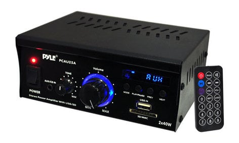Pyle Pro PCAU25A 2x25W Stereo Power Amplifier with USB/SD Card Reader PCAU25A
