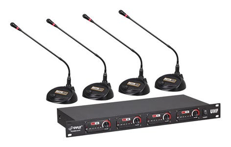 Pyle Pro PDWM4650  4-Ch Desktop Conference UHF Wireless Microphone System PDWM4650