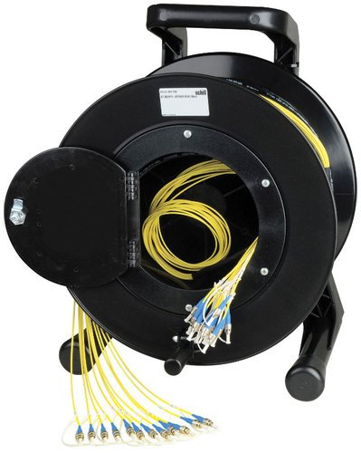 TecNec HF-TR02LC-1000 1000' Hybrid Fiber Systems 2-Ch Fiber Optic Tactical Cable on Reel HF-TR02LC-1000