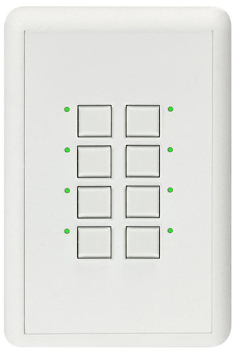 Interactive Technologies ST-MD8-CW-RGB Mystique Series 2-Wire 8-Button CueStation in White with RGB LED Indicators ST-MD8-CW-RGB